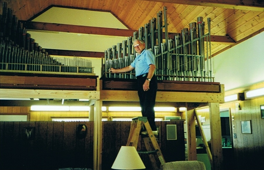 Don Wilson installing the pipe organ into the family office/home.